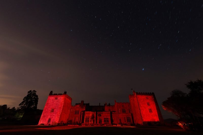 Red castle at night with stars