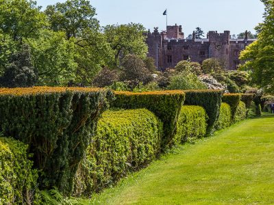 View of Muncaster Castle from terrace